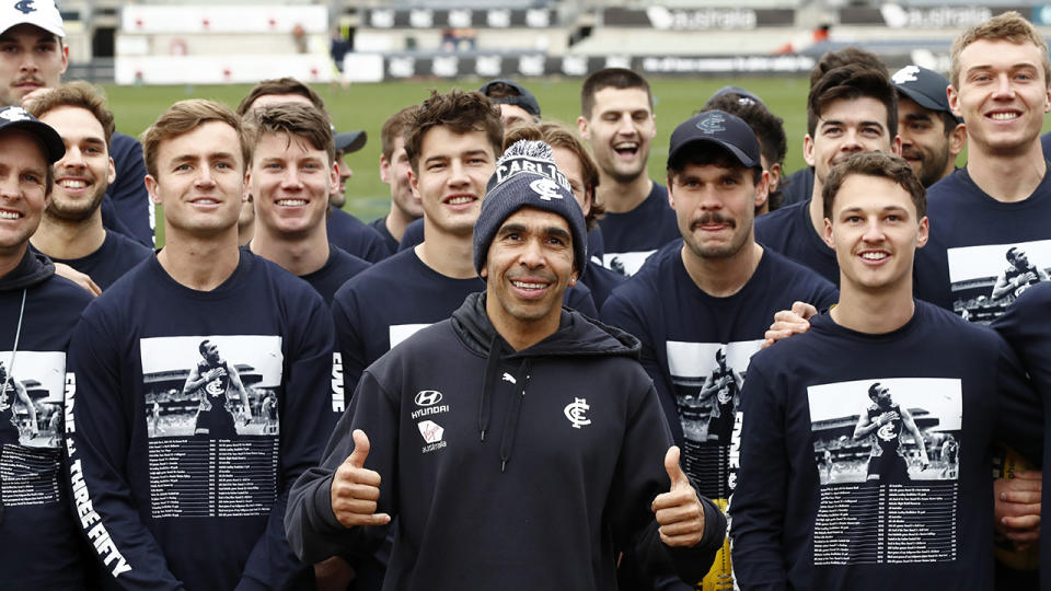 Eddie Betts' Carlton teammate donned special shirts at training to honour the Indigenous star before his 350th and final AFL game. (Photo by Darrian Traynor/Getty Images)