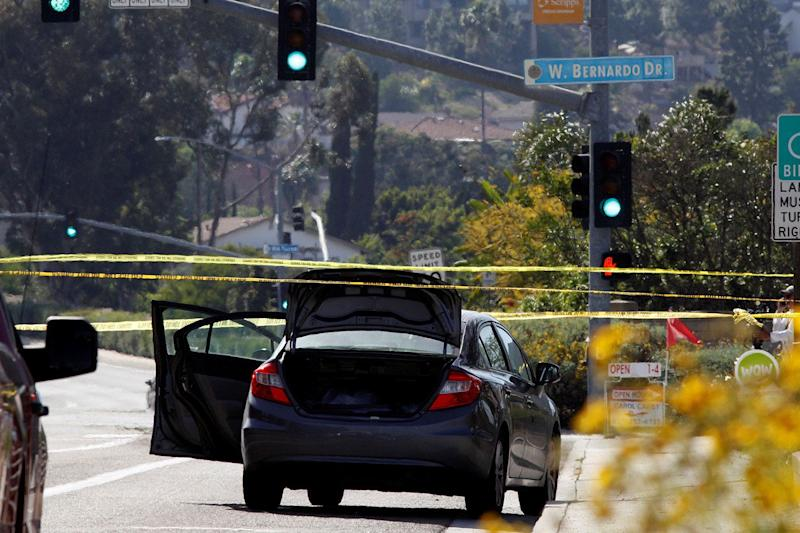 A car, allegedly used by the gunman who killed one at the Congregation Chabad synagogue in Poway, is pictured, few hundred feet from the Interstate 15 off-ramp north of San Diego, April 27, 2019. (Photo: John Gastaldo/Reuters)