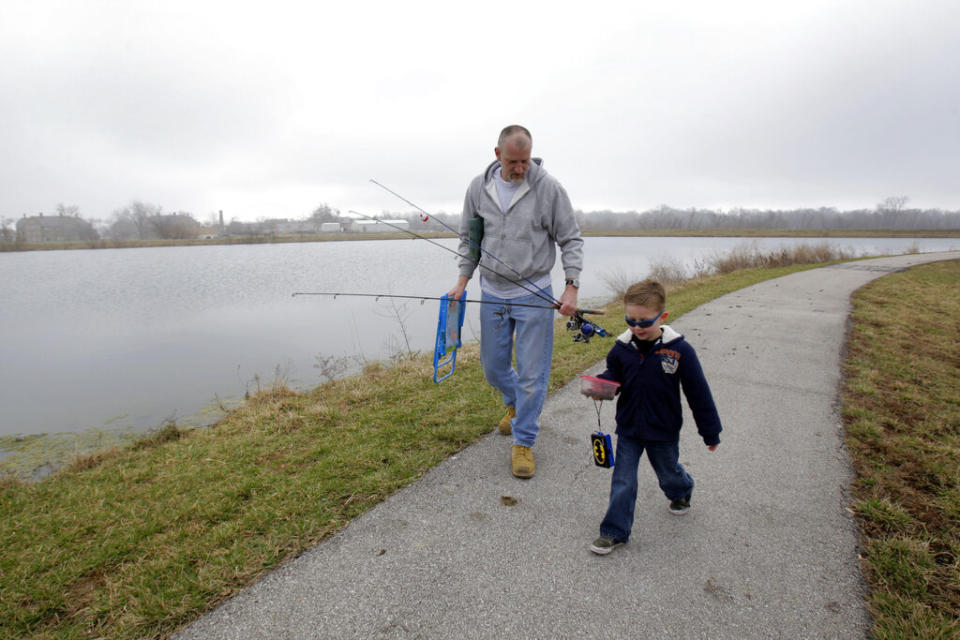 Fishing together can bring  on positive effects of both meditation and bonding with others. (AP Photo/Jeff Roberson)