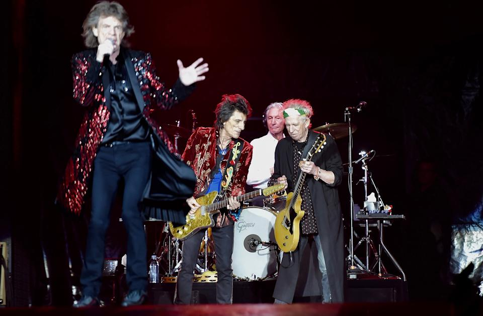 NANTERRE, FRANCE - OCTOBER 27: Mick Jagger, Keith Richarda, Ron Wood, Charlie Watts of Rolling Stones on Stage during the concert at U Stadium on October 25, 2017 in Nanterre, France. (Photo by Franck Castel ATPImages/Getty Images)