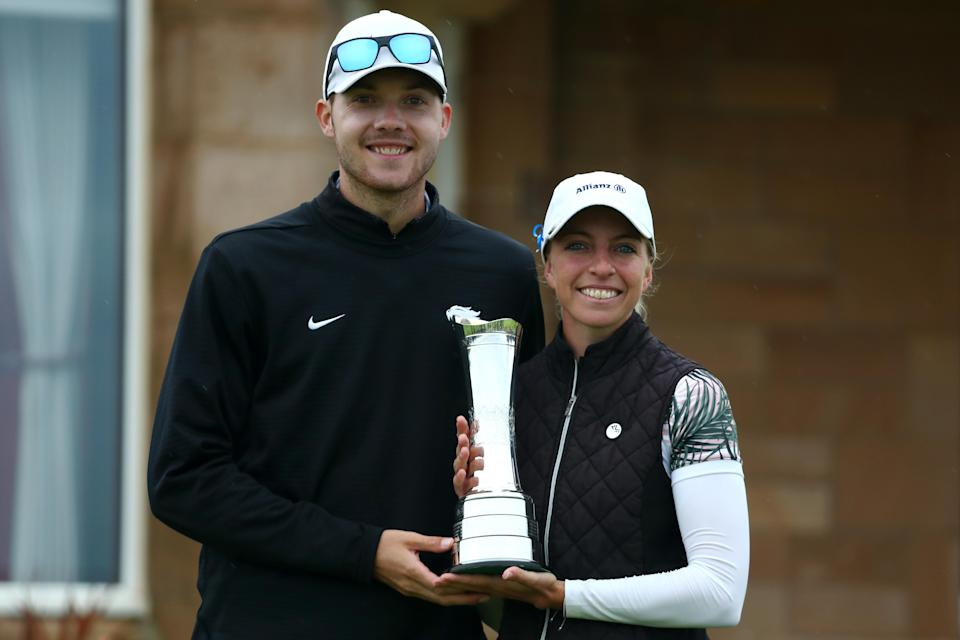 A major winner on the bag? Sophia Popov goes to work for boyfriend Max Mehles at Canadian Q-School