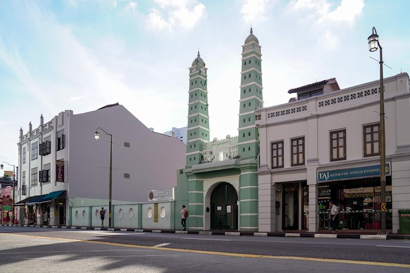 SINGAPORE, SINGAPORE - MARCH 15: General view of Masjid Jamae (Chulia) in Chinatown district on March 15, 2020 in Singapore. The mosque is one of the 10 mosques visited by confirmed Covid-19 cases after they returned from a large religious gathering from Malaysia. (Photo by Ore Huiying/Getty Images)