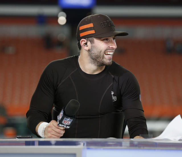 Baker Mayfield is laughing off the haters. (AP Photo/Ron Schwane)