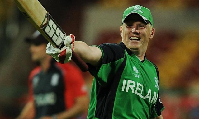 """<span class=""""element-image__caption"""">Kevin O'Brien celebrates his century during Ireland's World Cup victory against England in Bangalore in 2011. </span> <span class=""""element-image__credit"""">Photograph: Dibyangshu Sarkar/AFP/Getty Images</span>"""