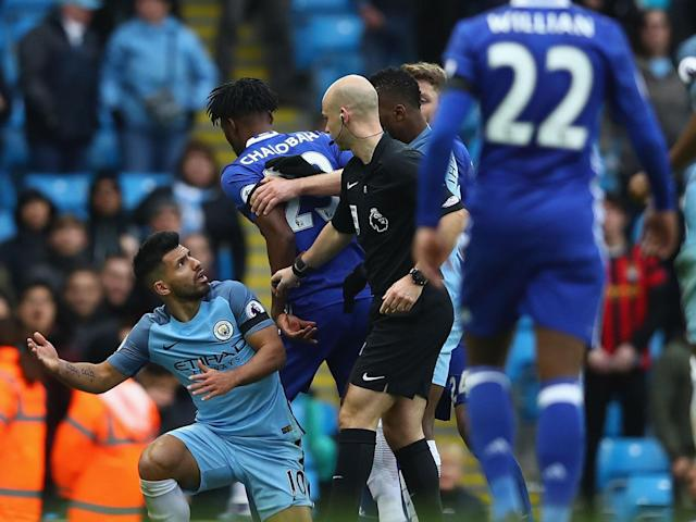 Sergio Aguero and David Luiz clashed during the game in December: Getty