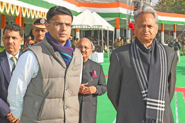 Rajasthan Chief Minister Ashok Gehlot and Deputy CM Sachin Pilot during this year's Republic Day parade in Jaipur.