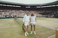 <p>Bjorn Bjorg of Sweden and Roscoe Tanner of the United States before their Men's Singles Final match on July 7, 1979.</p>
