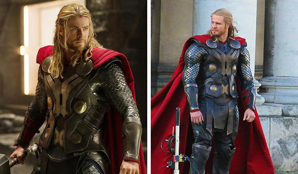 """<p>Stuntman Bobby Holland Hanton was a gymnast and high diver before being Thor alongside Hemsworth in sequel 'The Dark World' and had to wear lifts in his shoes to stand the same height as the 6'2"""" actor.</p><p>Still, he's getting used to playing superheroes – he also doubled for Christian Bale in the Batman series.</p>"""