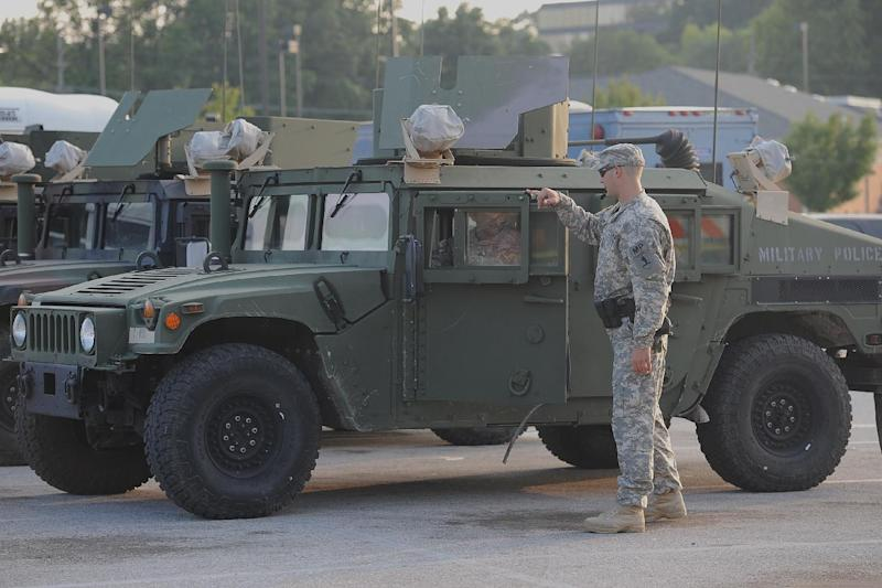 Missouri National Guard near a Shopping Center in Ferguson, Missouri on August 18, 2014