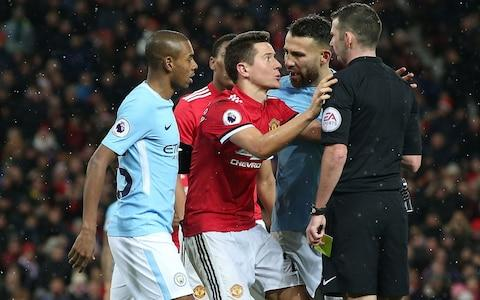 Ander Herrera looks stunned at his booking - Credit: GETTY IMAGES