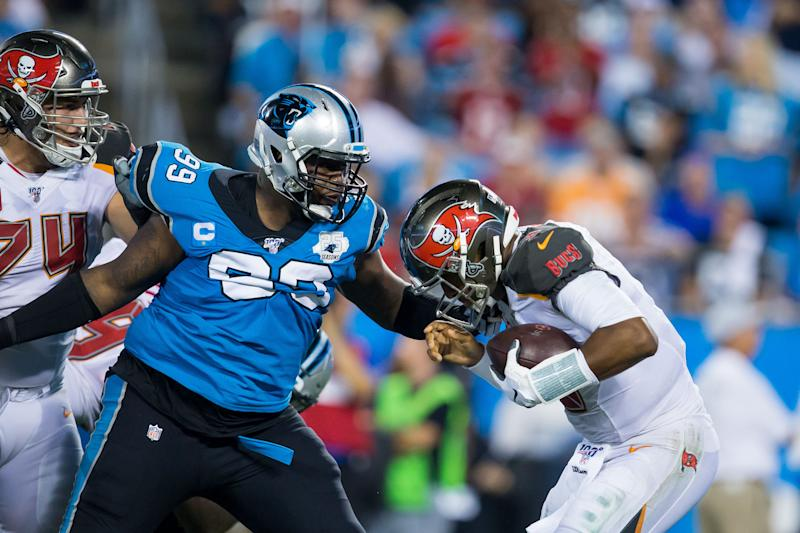 The Carolina Panthers placed defensive lineman Kawann Short, No. 99, on season-ending injured reserve on Tuesday. (Getty Images)
