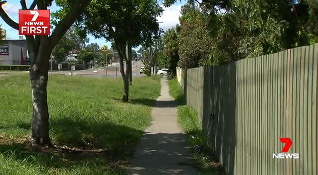 The footpath where Karen was attacked is right by a main road. Photo: 7 News