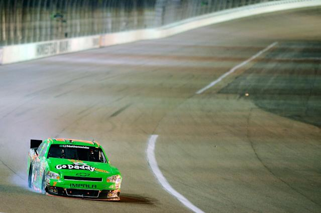 HOMESTEAD, FL - NOVEMBER 19: Danica Patrick drives the wrecked #7 GoDaddy.com Chevrolet after an incident in the NASCAR Nationwide Series Ford 300 at Homestead-Miami Speedway on November 19, 2011 in Homestead, Florida. (Photo by Jared C. Tilton/Getty Images)