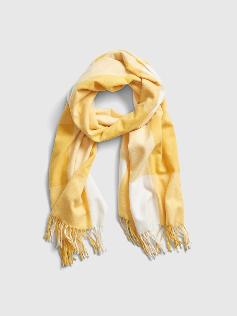 <p>An easy way to incorporate a pop of yellow into classic muted winter outwear looks is with this <span>Gap Recycled Cozy Scarf</span> ($22).</p>