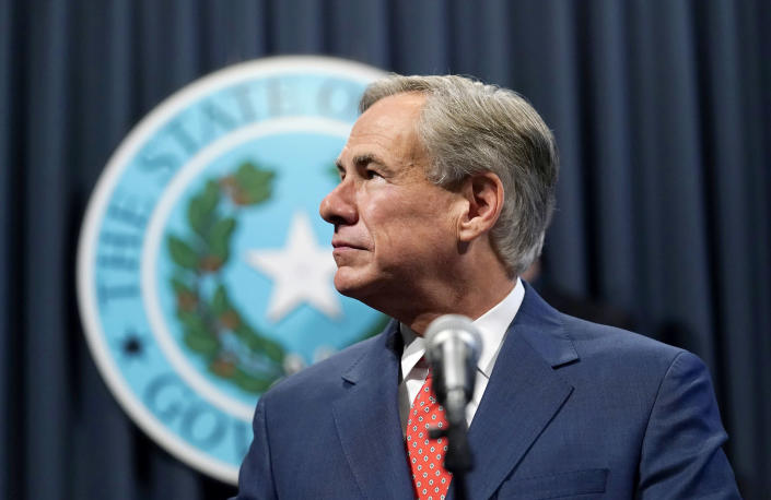 IMAGE: Texas Gov. Greg Abbott at a news conference in Austin. (Eric Gay / AP file)