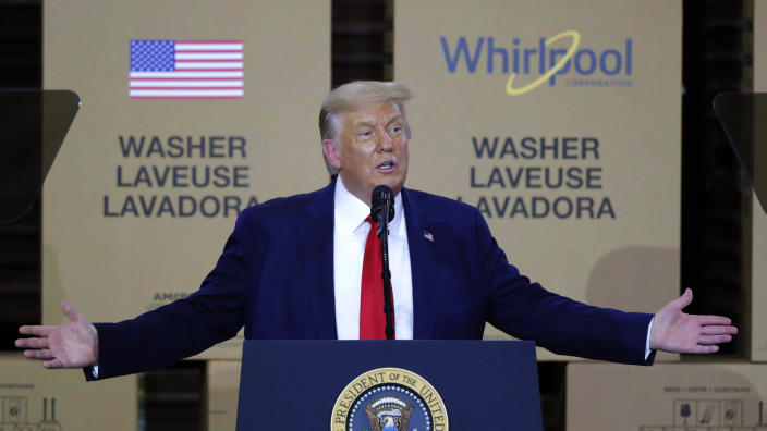 President Donald Trump speaks during an event at the Whirlpool Corporation Manufacturing Plant in Clyde, Ohio in August. (Tony Dejak/AP)