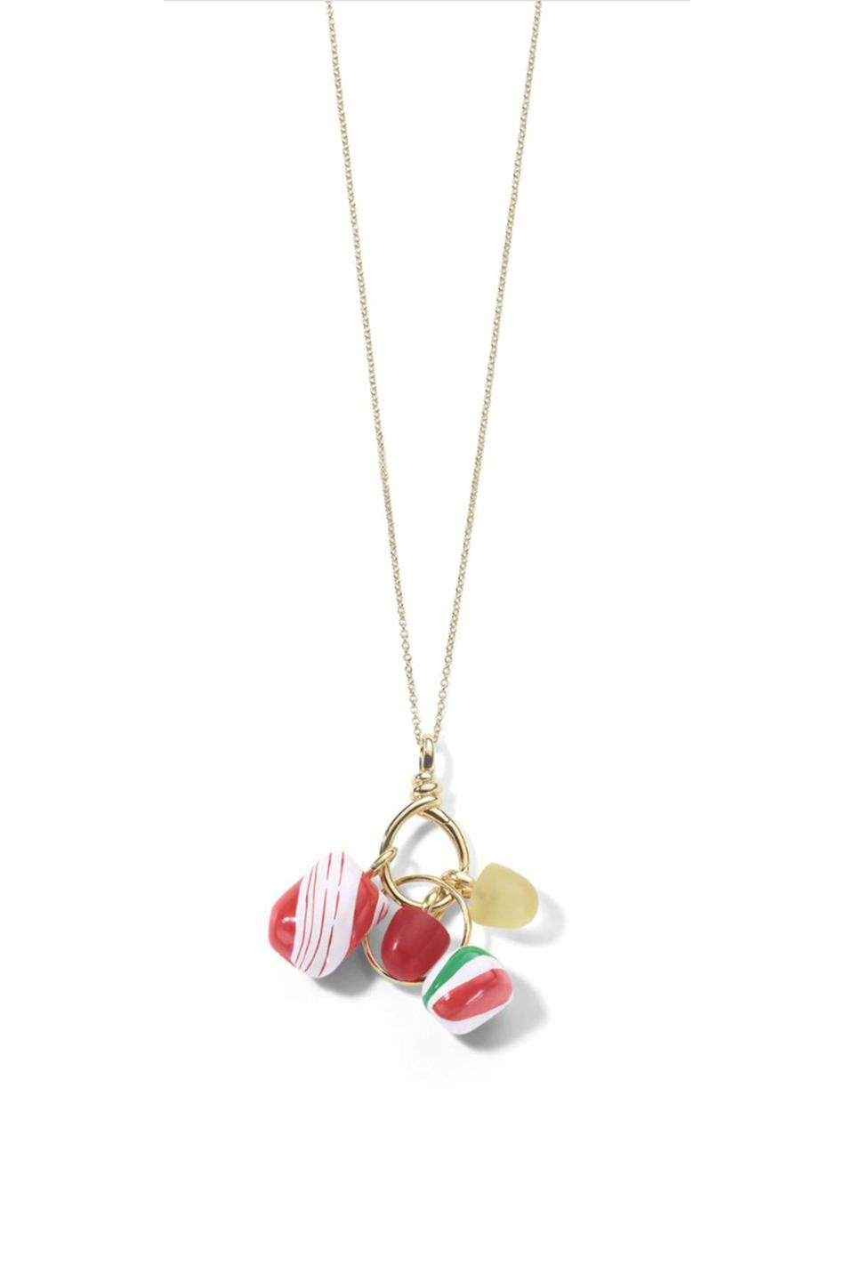 """<p><strong>Ippolita</strong></p><p>ippolita.com</p><p><strong>$6500.00</strong></p><p><a href=""""https://www.ippolita.com/will-cotton-charm-holder-necklace-in-18k-gold-gsn1636-cotton/"""" rel=""""nofollow noopener"""" target=""""_blank"""" data-ylk=""""slk:Shop Now"""" class=""""link rapid-noclick-resp"""">Shop Now</a></p><p>As part of Italian brand Ippolita's third collaboration with the Brooklyn Museum, the painter Will Cotton, who is famous for his works depicting confectionery-laden landscapes, designed this charm necklace featuring glass and ceramic bonbons.</p>"""