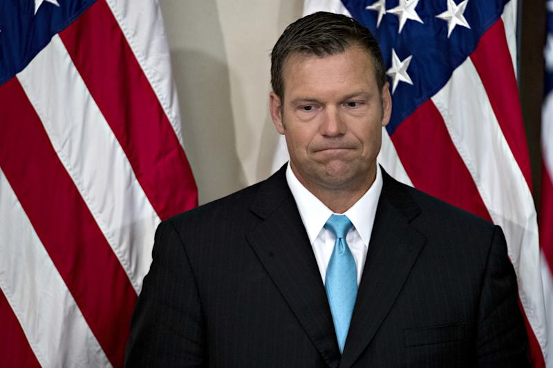 Kris Kobach arrives at the initial meeting of the Presidential Advisory Commission on Election Integrity on July 19, 2017. It was subsequently disbanded. (Bloomberg via Getty Images)