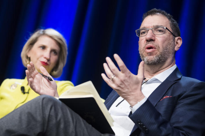 Andy Slavitt, former administrator of the Centers for Medicare and Medicaid Services, and Dr. Rebekah Gee, secretary of the Louisiana Department of Health, speak during a health care panel discussion at the House Democrats' 2019 Issues Conference at the Lansdowne Resort and Spa in Leesburg, Va., on Thursday, April 11, 2019. (Tom Williams/CQ Roll Call via Getty Images)