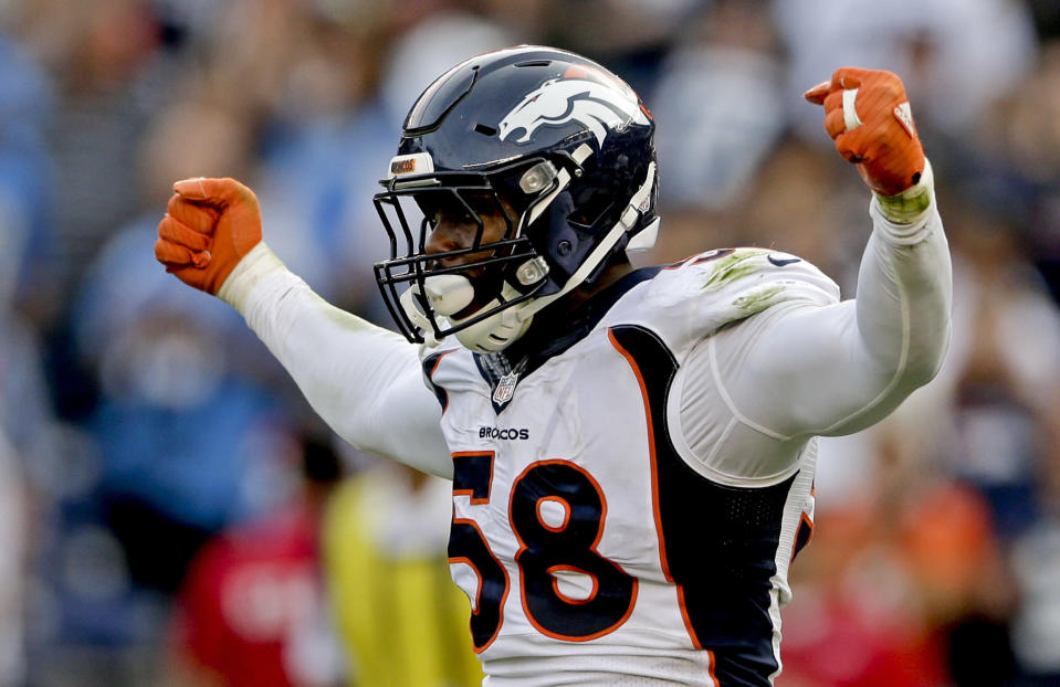 FILE - In this Dec. 6, 2015, file photo, Denver Broncos outside linebacker Von Miller celebrates a sack against the San Diego Chargers during the second half in an NFL football game in San Diego. Miller was selected to the 2010s NFL All-Decade Team announced Monday, April 6, 2020, by the NFL and the Pro Football Hall of Fame. (AP Photo/Gregory Bull, FIle)