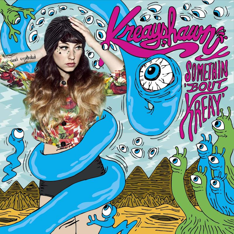 """This CD cover image released by Columbia Records shows the latest release by Kreayshawn,""""Somethin 'Bout Kreay."""" (AP Photo/Columbia Records)"""