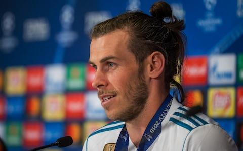 Gareth Bale of Real Madrid speaks to the media during the press conference - Credit: Getty