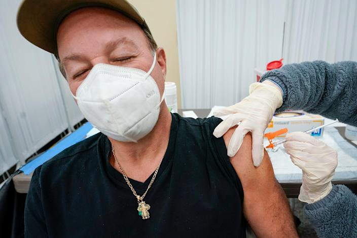 A Johnson & Johnson vaccine dose is administered in Staten Island, New York on Thursday (AP)
