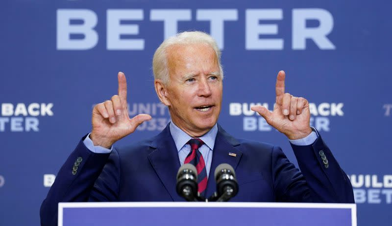 FILE PHOTO: Democratic U.S. presidential nominee Biden talks to reporters during an appearance in Wilmington, Delaware