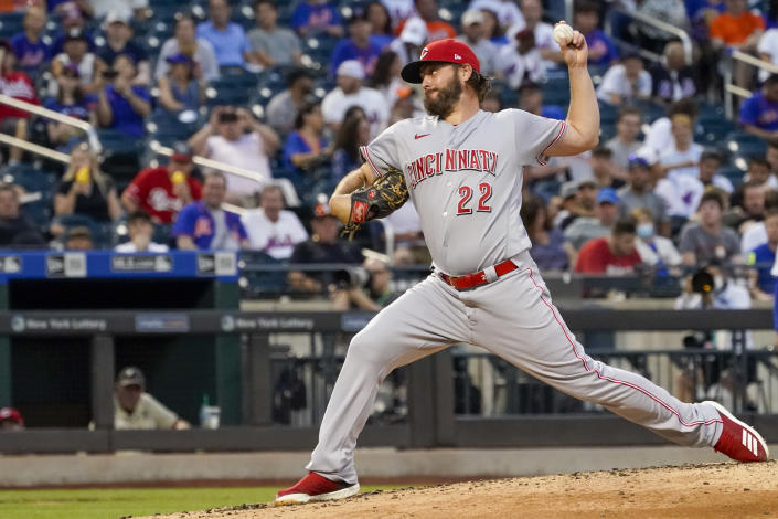 Cincinnati Reds starting pitcher Wade Miley delivers in the second inning of the baseball game against the New York Mets, Saturday, July 31, 2021, in New York. (AP Photo/Mary Altaffer)