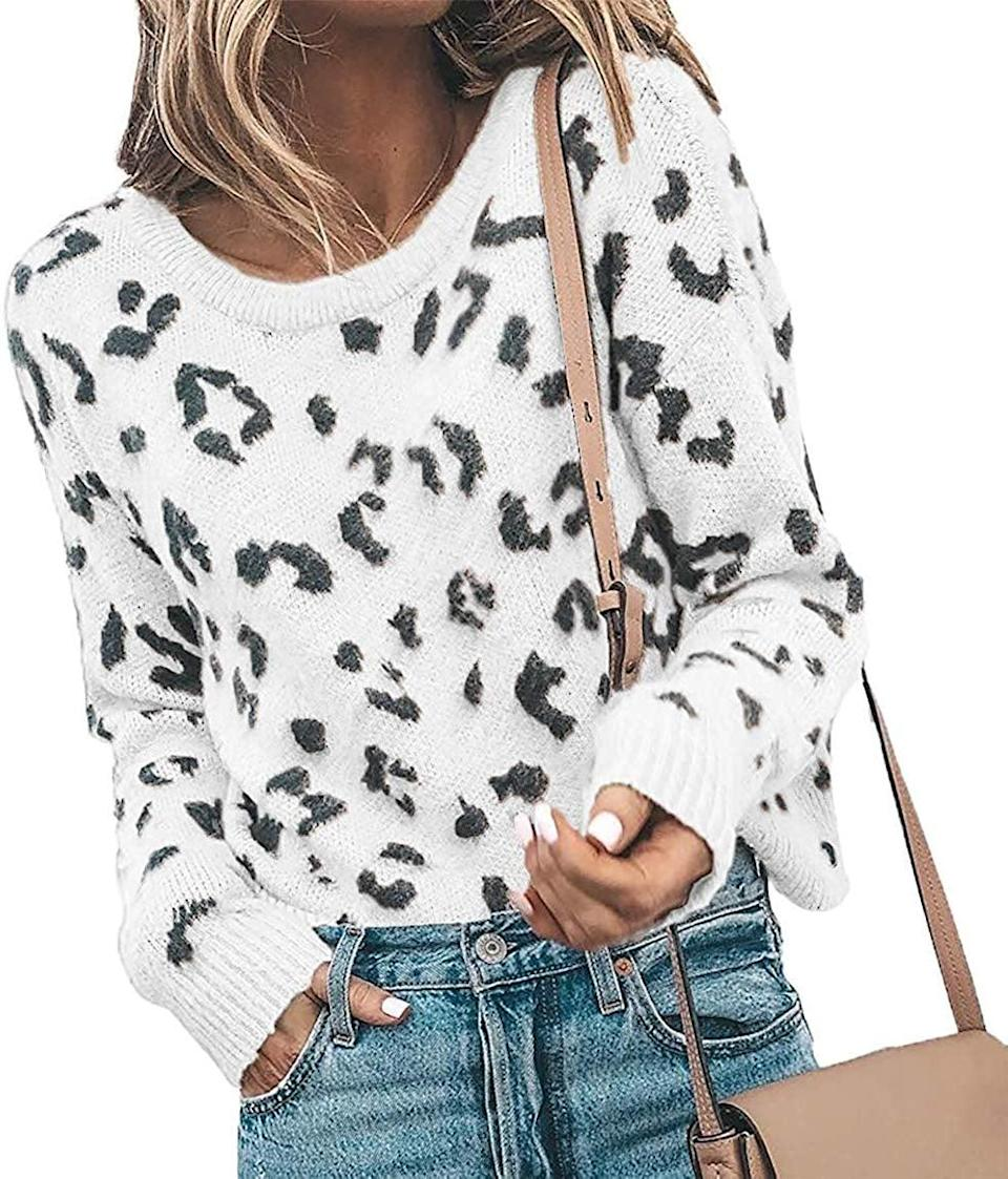 <p>Wait until you feel this soft <span>Karlywindow Casual Leopard Print Pullover Sweater</span> ($30).</p>