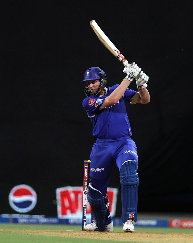 Rajasthan Royals player James Faulkner plays a shot during match 66 of the Pepsi Indian Premier League ( IPL) 2013  between The Mumbai Indians and the Rajasthan Royals held at the Wankhede Stadium in Mumbai on the 15th May 2013 ..Photo by Vipin Pawar-IPL-SPORTZPICS ..Use of this image is subject to the terms and conditions as outlined by the BCCI. These terms can be found by following this link:..https://ec.yimg.com/ec?url=http%3a%2f%2fwww.sportzpics.co.za%2fimage%2fI0000SoRagM2cIEc&t=1498326074&sig=tr2WZY7thmbMzAajUMzRxA--~C