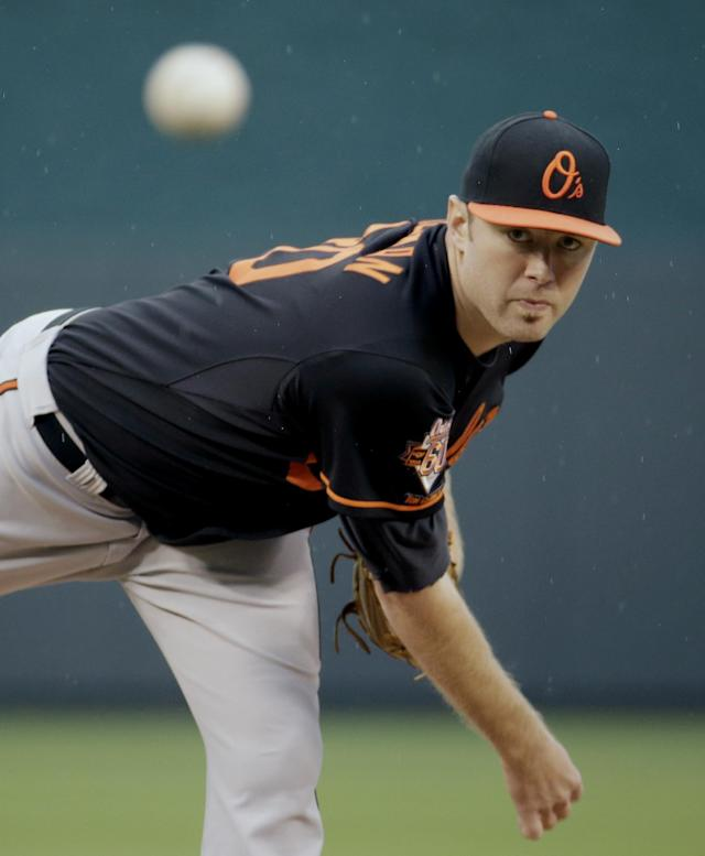 Baltimore Orioles starting pitcher Chris Tillman throws during the first inning of a baseball game against the Kansas City Royals on Friday, May 16, 2014, in Kansas City, Mo. (AP Photo/Charlie Riedel)