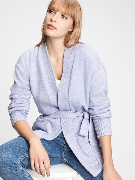 <p>We love this periwinkle <span>Gap Belted Cardigan</span> ($31, originally $80) for a subtle pop of color, instead of a standard gray. </p>
