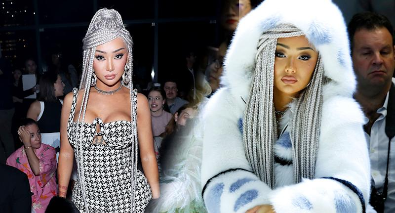 Nikita Dragun pictured at New York Fashion Week, at Vivienne Hu show (right) and at Chromat. [Photo: Getty]