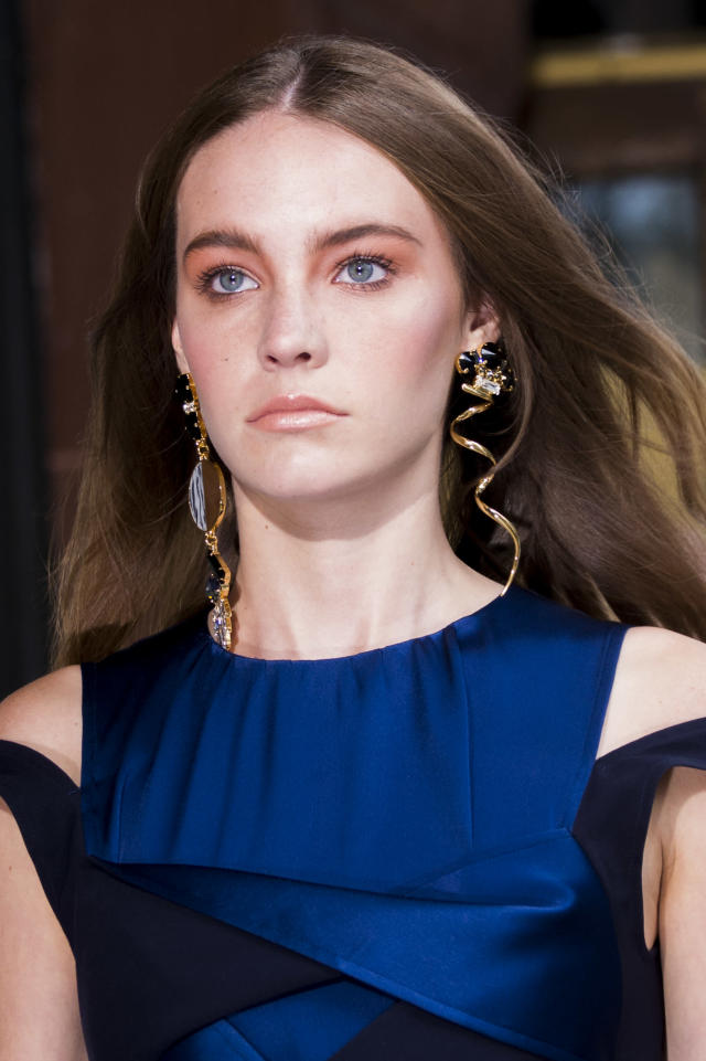 <p><i>Organic-shaped statement earrings from the SS18 Adeam collection. (Photo: ImaxTree) </i></p>