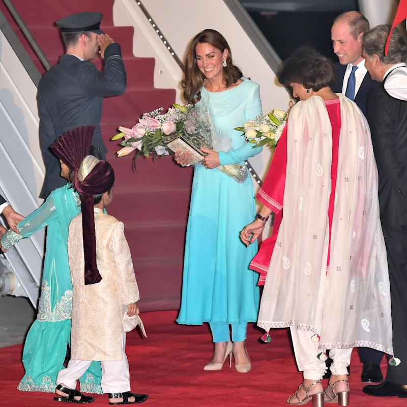 Prince William, Duke of Cambridge and Catherine, Duchess of Cambridge arrive at Pakistani Air Force Base Nur Khan on October 14, 2019 in Rawalpindi, Pakistan.Photo by Samir Hussein/WireImage.