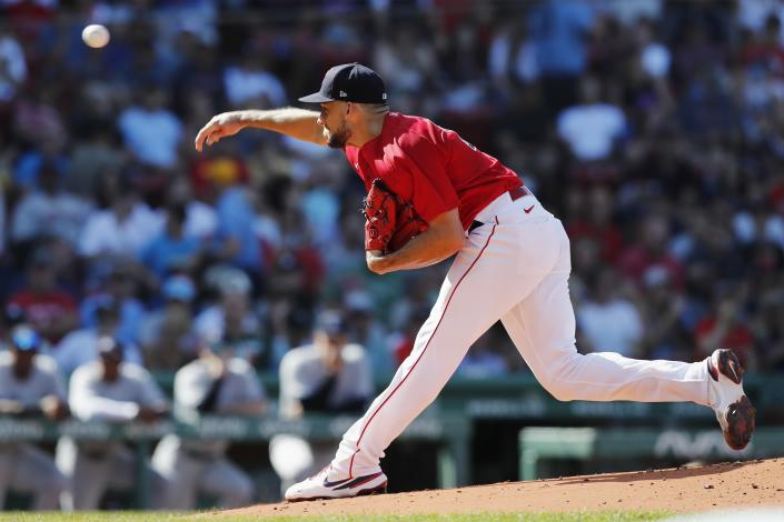 Boston Red Sox's Nathan Eovaldi pitches during the first inning of a baseball game against the New York Yankees, Saturday, July 24, 2021, in Boston. (AP Photo/Michael Dwyer)