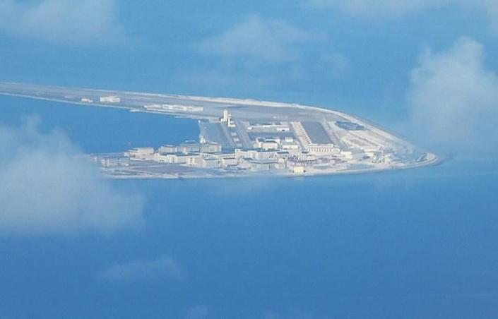 An aerial shot of Chinese development on the disputed Subi reef in the Spratlys (AFP/TED ALJIBE)