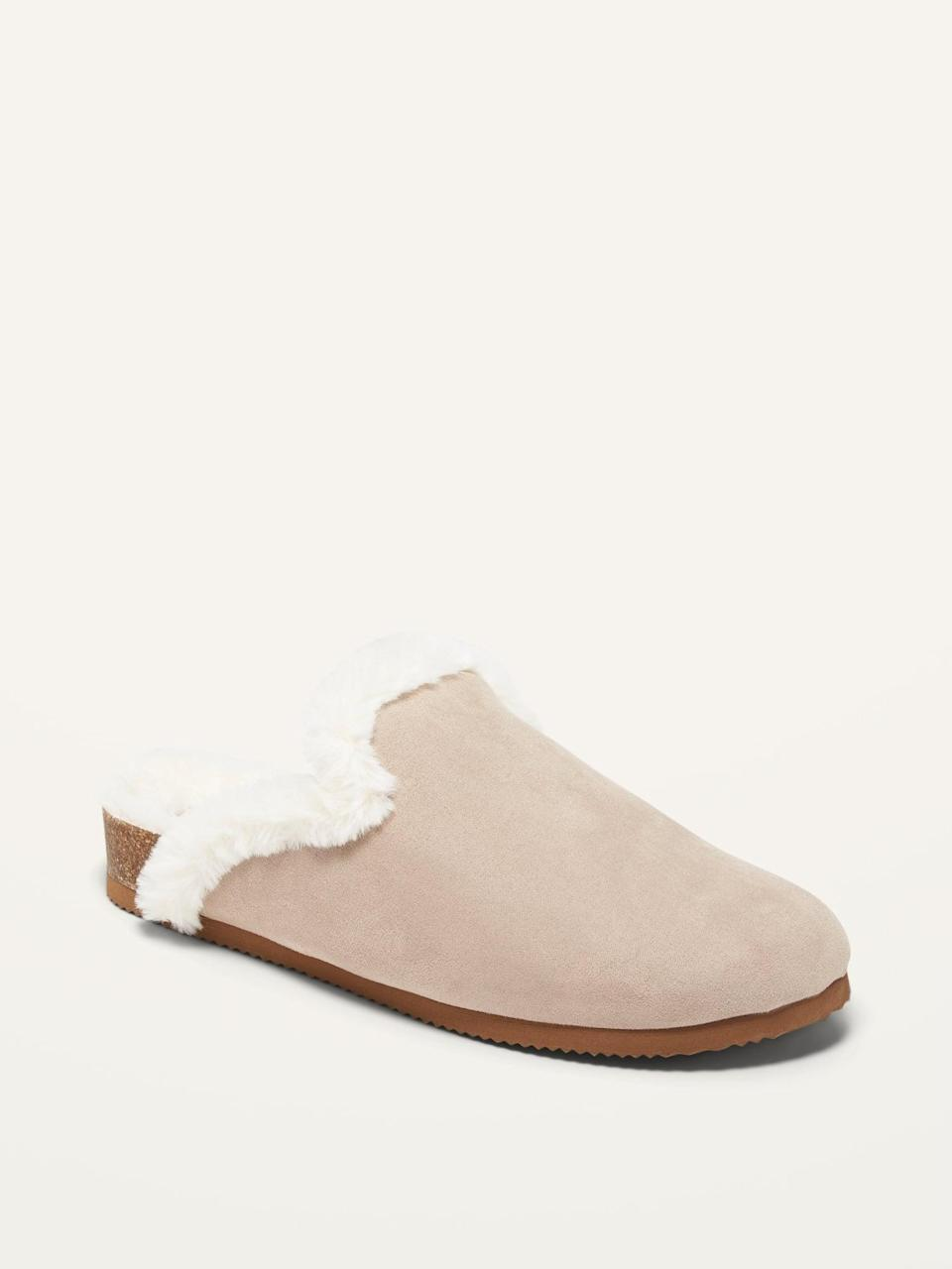 <p>I have been talking about getting a pair of fuzzy mules for months. These <span>Faux-Fur Lined Slip-On Mule Slides</span> ($35) will look great medium-wash jeans.</p>