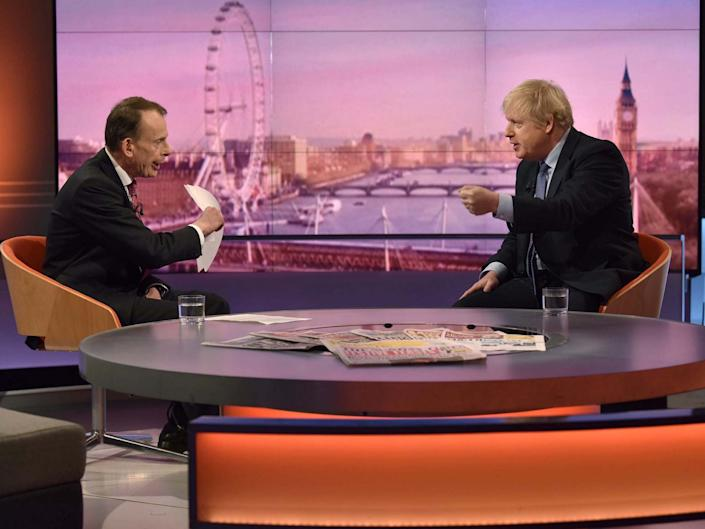 Boris Johnson is questioned by the host on 'The Andrew Marr Show': Reuters