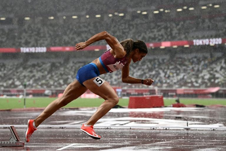 Even heavy rain could not prevent Sydney McLaughlin from cruising through her 400m hurdles semi-final