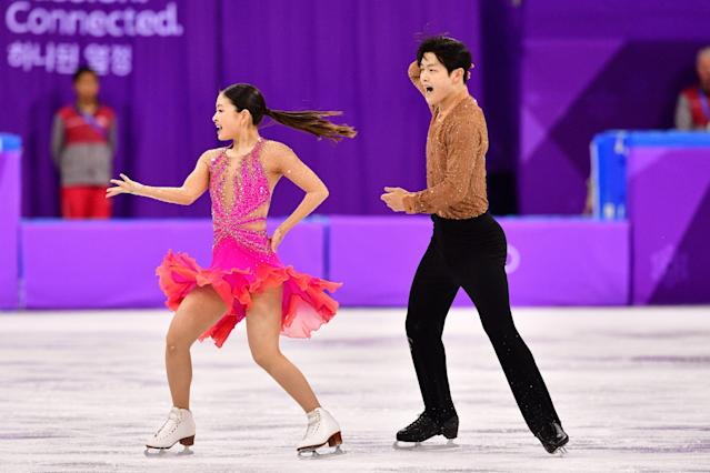 <p>USA's Alex Shibutani and USA's Maia Shibutani compete in the figure skating team event ice dance short dance during the Pyeongchang 2018 Winter Olympic Games at the Gangneung Ice Arena in Gangneung on February 11, 2018. / AFP PHOTO / Mladen ANTONOV </p>