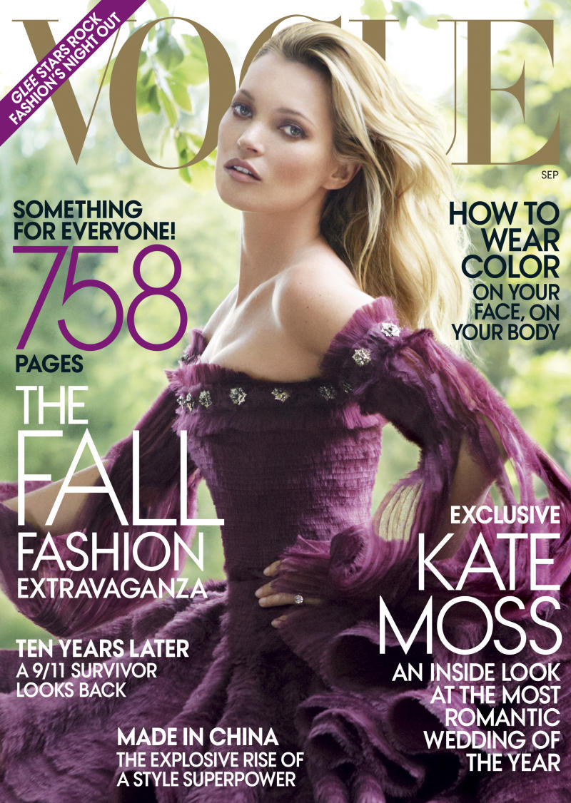 """In this magazine cover image taken by Mario Testino for Vogue, model Kate Moss is shown on the cover of the September 2011 issue of """"Vogue,"""" available on newsstands nationwide on Aug. 23. (AP Photo/Vogue, Mario Testino)"""