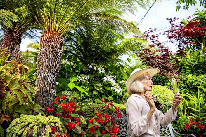 Julie Newmar in her colorful garden.