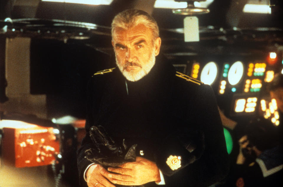 Scottish actor Sean Connery portrayed at the helm of a Red October nuclear submarine, with a pair of leather gloves in his hands;  he plays the role of Marko Ramius, a charismatic commander of the Soviet Navy in a scene from The Hunt for Red October.  Los Angeles (US), 1989. (Photo by Mondadori via Getty Images)