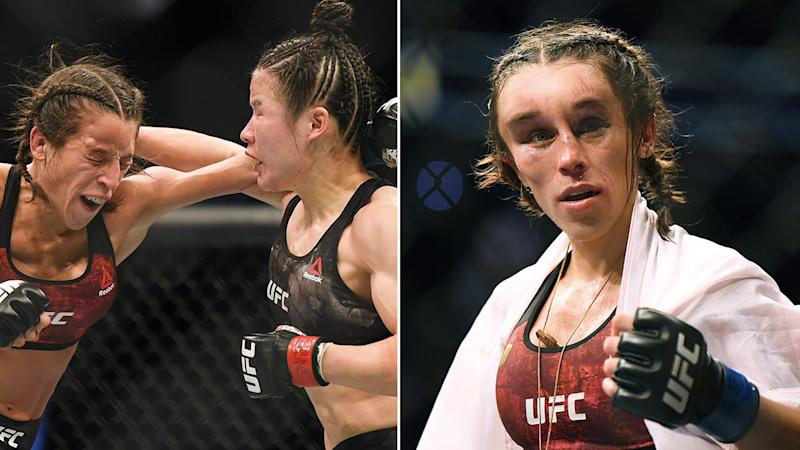 Pictured here, the gruesome aftermath to Joanna Jedrzejczyk's strawweight title fight at UFC 248.