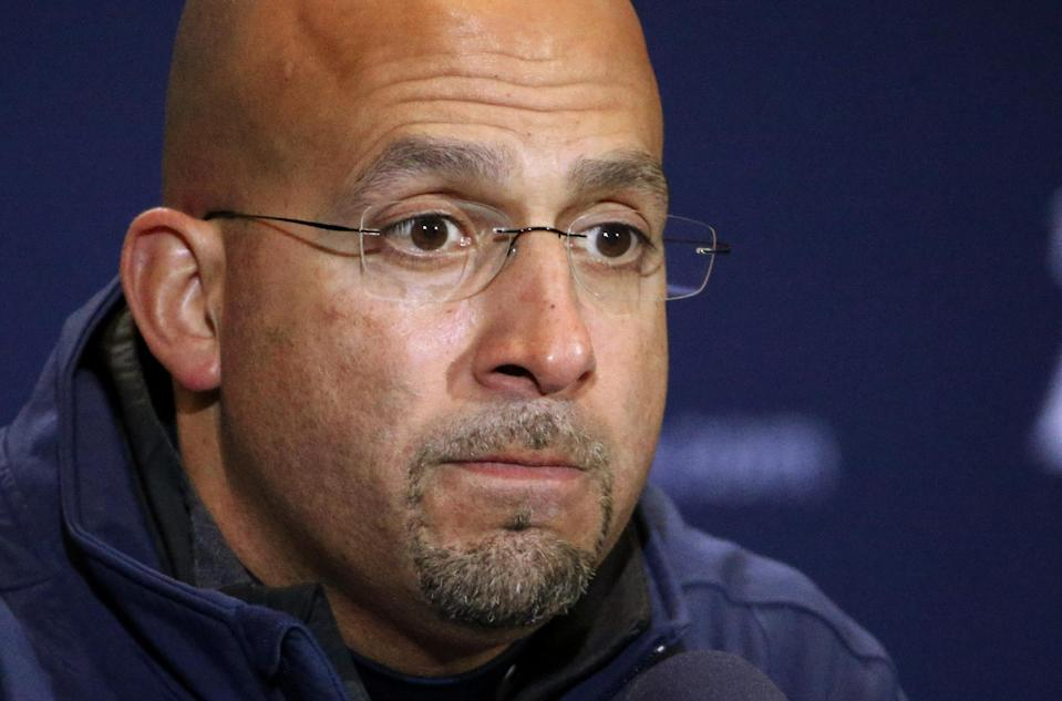Penn State head coach James Franklin listens to a question during his a news conference after an NCAA college football game against Michigan State in State College, Pa., Saturday, Nov. 29, 2014. Michigan State won 34-10 (AP Photo/Gene J. Puskar)