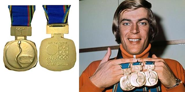 <p>The lines on the front of the 1972 medal represent snow and ice. The XI Olympic Winter Games were held in Sapporo, Japan.<br>(IOC photo; Dutch speed skater Ard Schenk in February 1972 in Sapporo/photo by AFP/Getty Images) </p>
