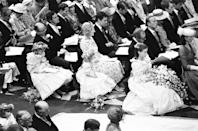 <p>Princess Diana had a total of five bridesmaids: Clementine Hambro, Catherine Cameron, Sarah-Jane Gaselee, India Hicks, and Lady Sarah Armstrong-Jones. Sarah was even trusted with holding Diana's bouquet!</p>