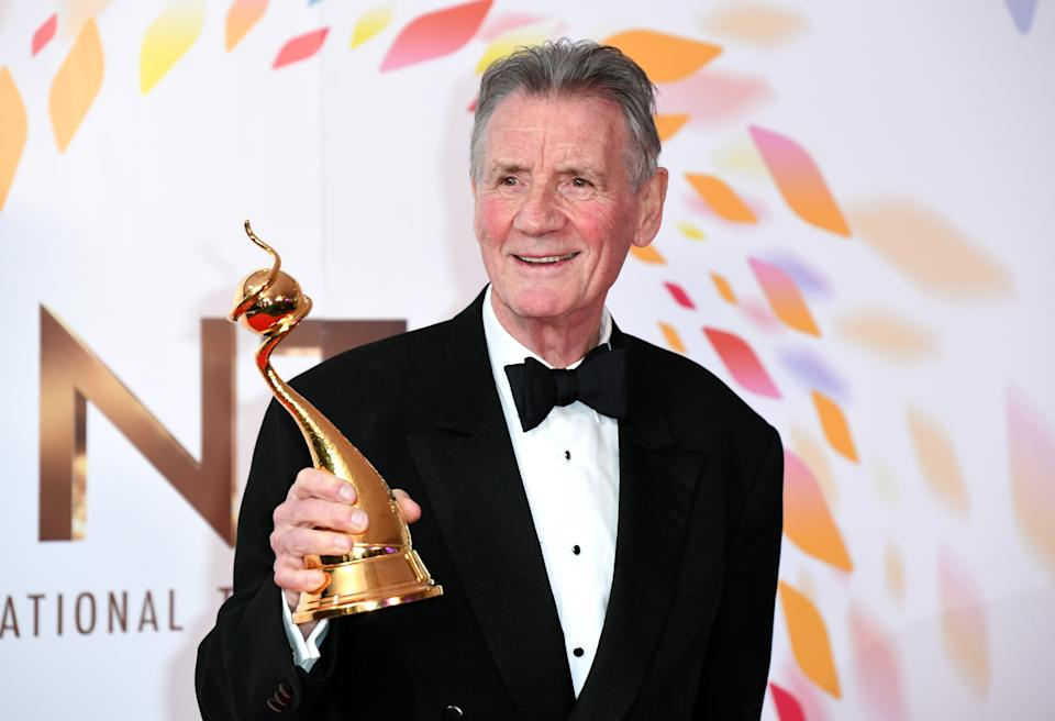 Michael Palin with the special recognition award in the Press Room at the National Television Awards 2020 held at the O2 Arena, London. Photo credit should read: Doug Peters/EMPICS